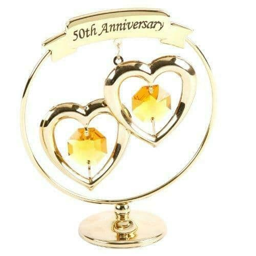 CrystoCraft 50th Anniversary Circle and Hearts Ornament with Swarovski Crystals